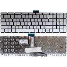 Клавиатура NFC для ноутбука HP 15-au, 15-bc, 15-ax, 15-cb, 15-cc, 15-cd, 15z-ab, 15-ab, 15-ae, 15-ak, 17-ab Omen 17-w серебристая с подсветкой RU совместимая